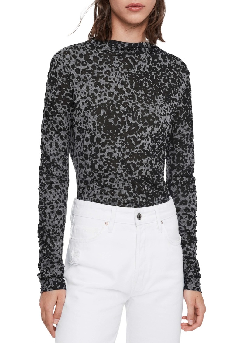 ALLSAINTS Leopard Print Roll Neck Top