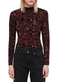 ALLSAINTS Leopard Red Kiara Shirt