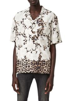 ALLSAINTS Leopon Slim Fit Leopard & Floral Short Sleeve Button-Up Camp Shirt