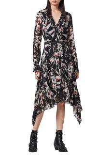 ALLSAINTS Lizia Wing Long Sleeve Handkerchief Hem Dress