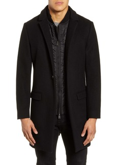 ALLSAINTS Lockwood Slim Fit Wool Coat with Removable Bib Inset