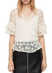 ALLSAINTS Lula Nisha Sheer Embroidered Top