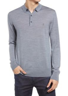 AllSaints Men's Mode Merino Wool Long Sleeve Polo