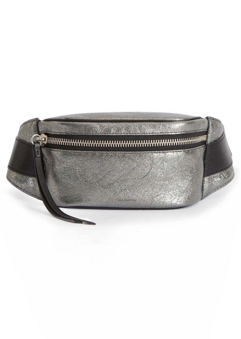 ALLSAINTS Miki Lea Metallic Leather Belt Bag