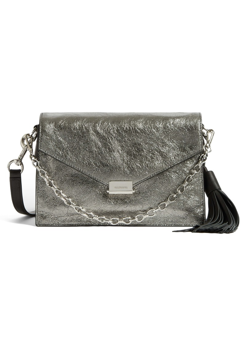 ALLSAINTS Miki Lea Metallic Leather Crossbody Bag