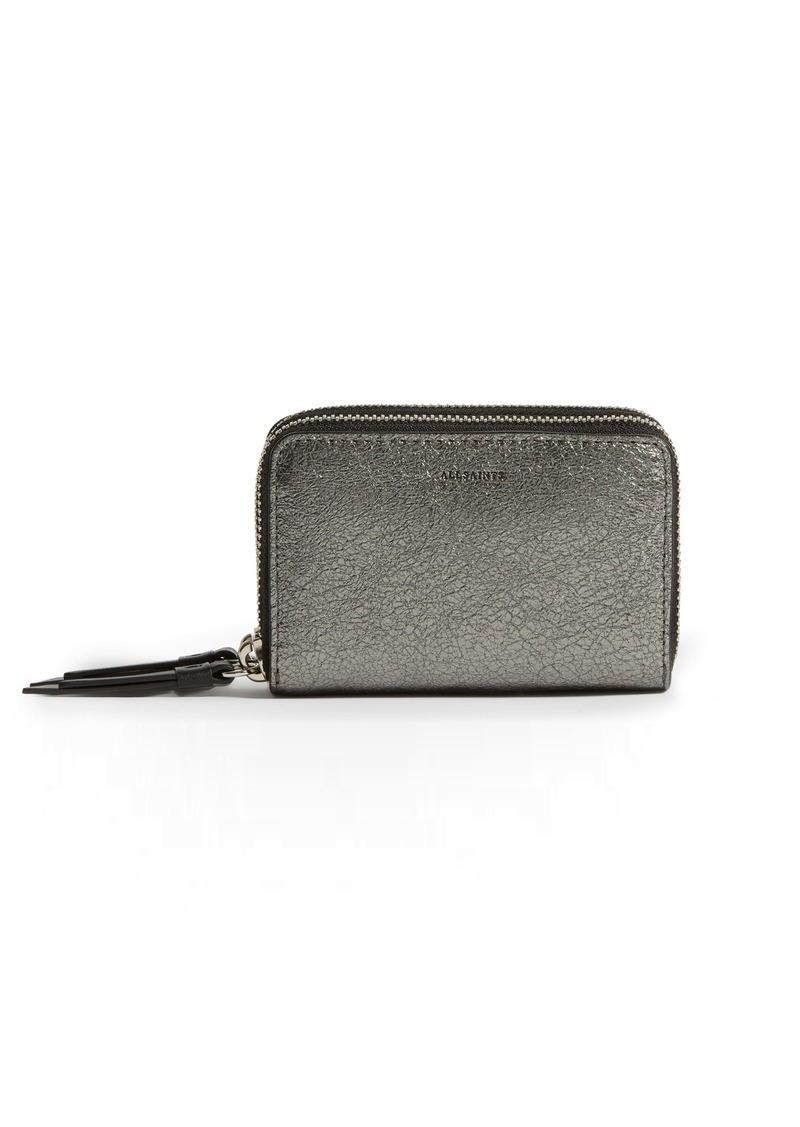 ALLSAINTS Miki Metallic Leather Card Holder