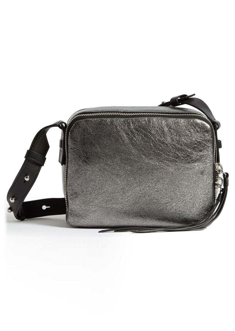 ALLSAINTS Miki Metallic Leather Crossbody Camera Bag