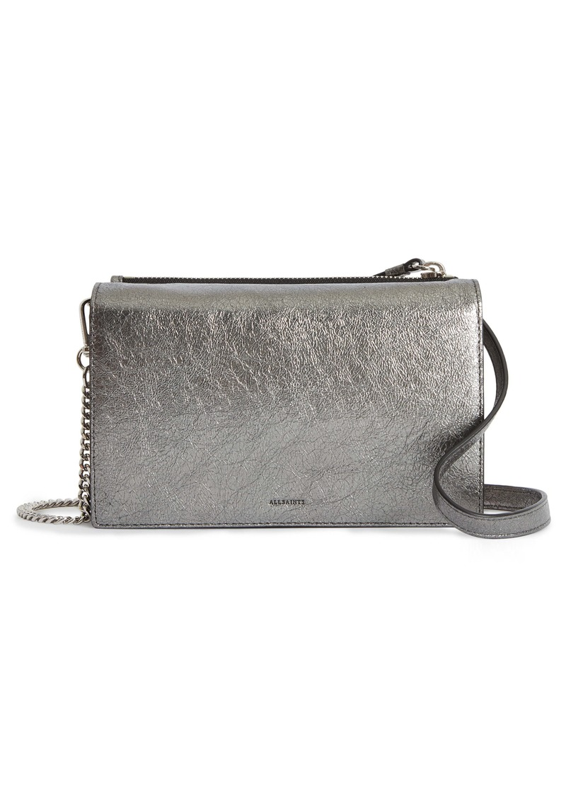 ALLSAINTS Miki Metallic Leather Wallet on a Chain