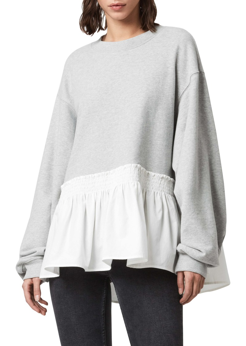 ALLSAINTS Nio Ruffle Hem Cotton Top