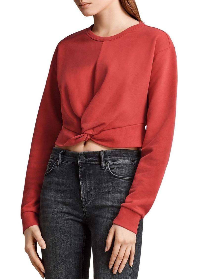 ALLSAINTS Paloma Twist-Front Cropped Sweatshirt