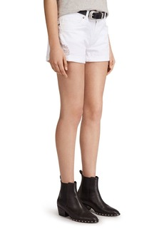 ALLSAINTS Pam Distressed Denim Shorts in Chalk White