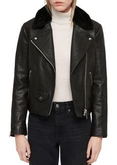 ALLSAINTS Pataya Lux Shearling-Collar Leather Biker Jacket