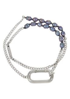 ALLSAINTS Pearl & Chain Double Wrap Bracelet