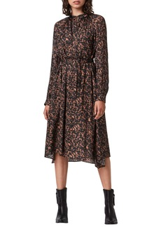 ALLSAINTS Print Belted Long Sleeve Dress