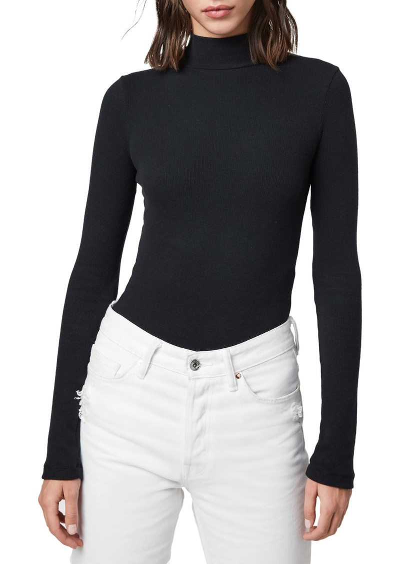 ALLSAINTS Raffi Roll Neck Cotton Blend Bodysuit