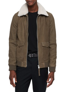 ALLSAINTS Reed Leather Aviator Jacket with Faux Fur Trim