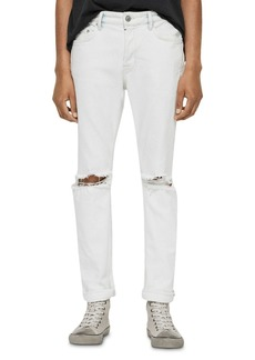 ALLSAINTS Rex Damaged Skinny Fit Jeans in Bleached Indigo Blue