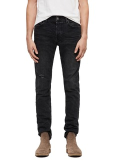 ALLSAINTS Rex Straight Slim Jeans in Washed Black