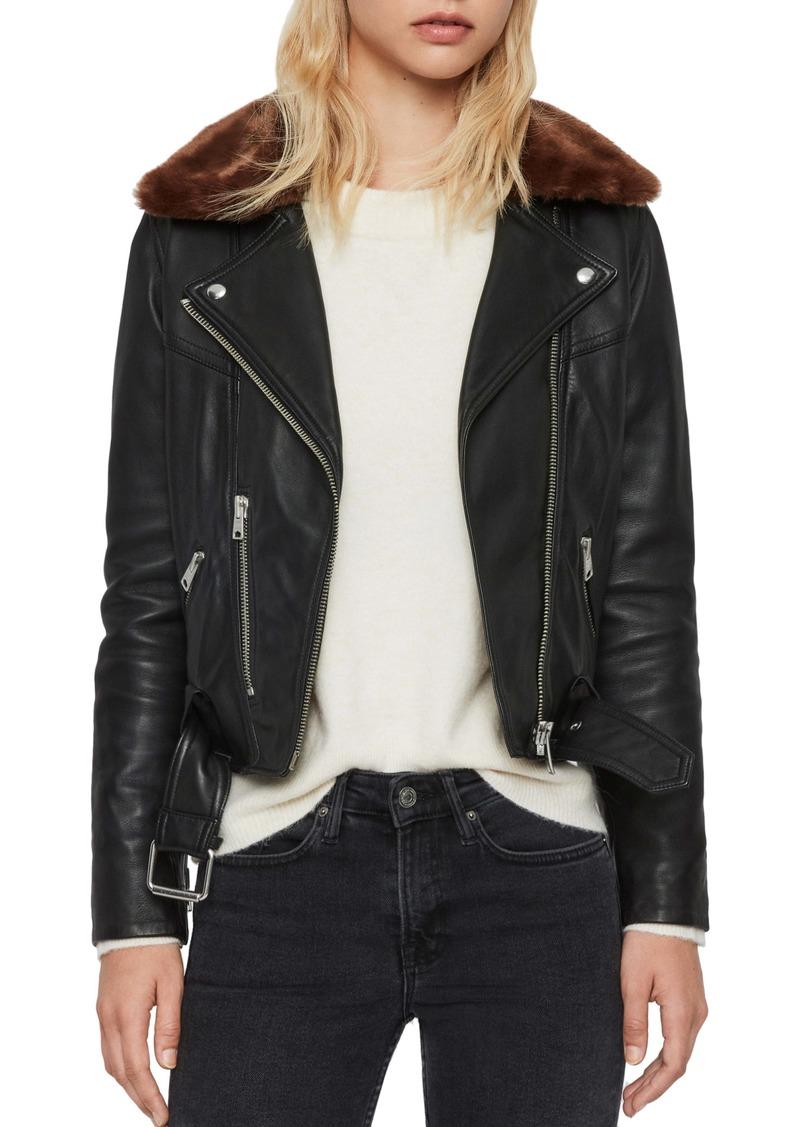 ALLSAINTS Rigby Lux Removable Faux Fur Collar Leather Biker Jacket