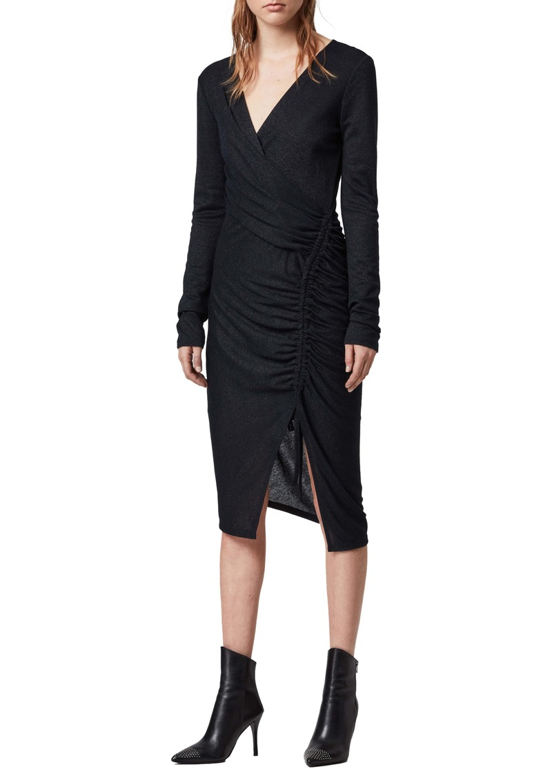 ALLSAINTS Rina Glitz Drawstring Long Sleeve Wrap Dress