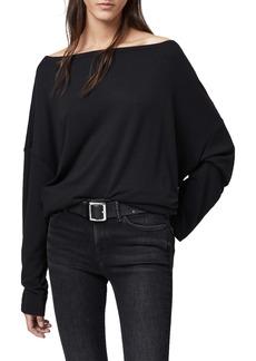 AllSaints Rita Oversize One-Shoulder Long Sleeve Tee