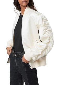 ALLSAINTS Robin Ruched Sleeve Bomber Jacket