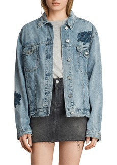 ALLSAINTS Rose Embroidered Oversize Denim Jacket
