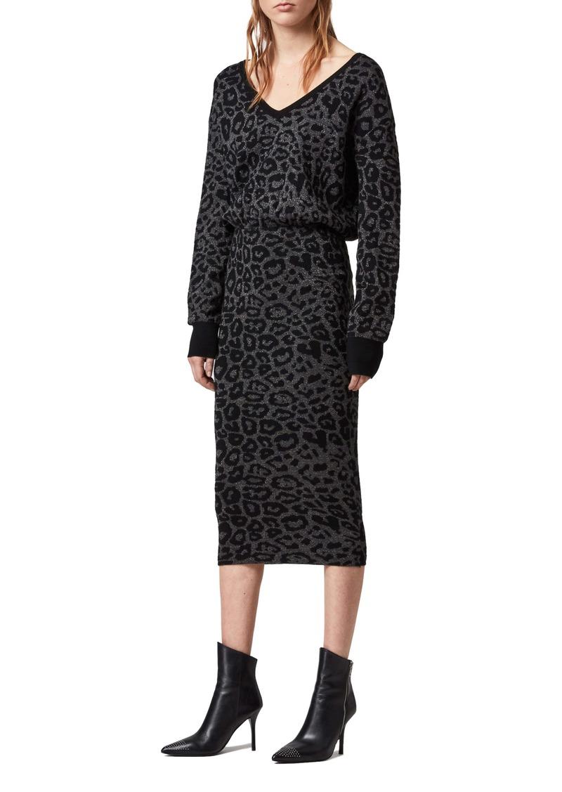 ALLSAINTS Roxanne Metallic Sweater Dress
