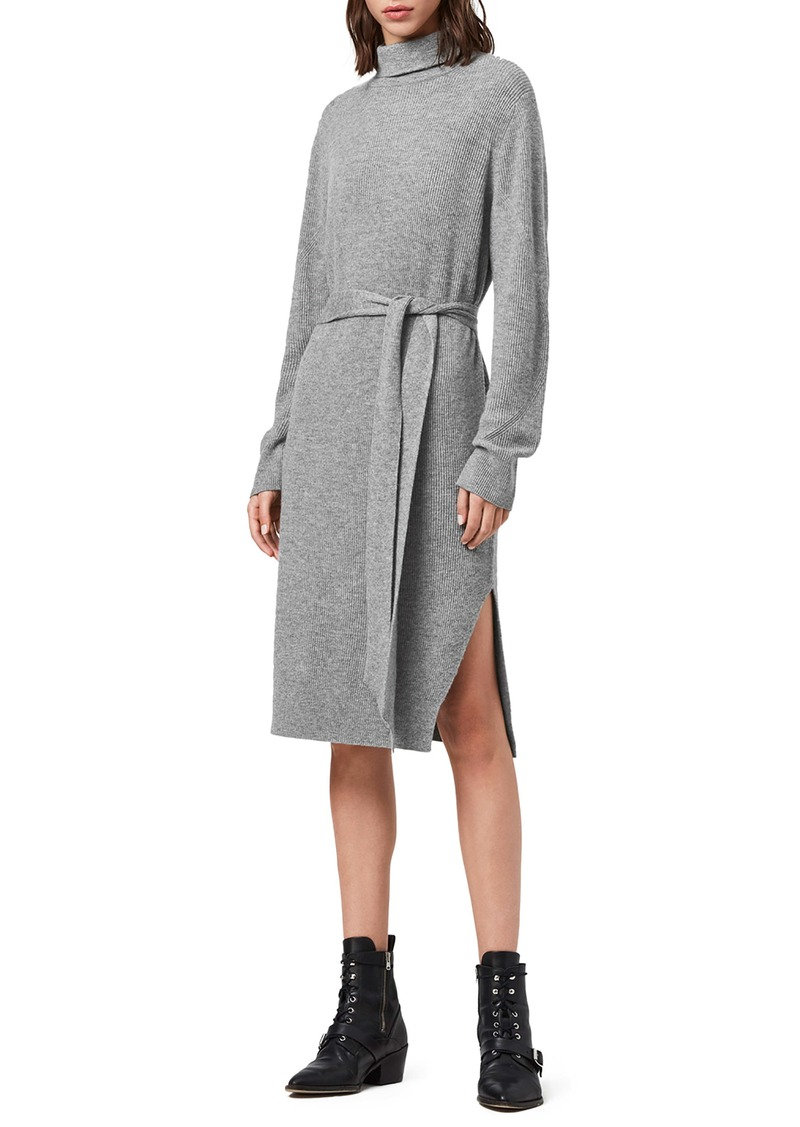 ALLSAINTS Roza Long Sleeve Turtleneck Sweater Dress