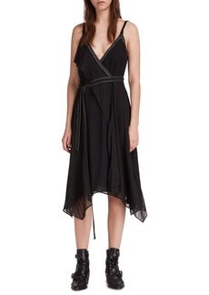 ALLSAINTS Sienna Sharkbite Hem Wrap Dress