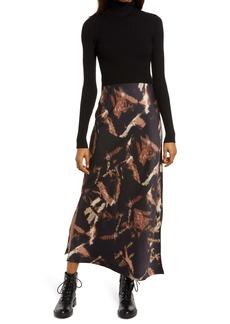 AllSaints Sigourney Turtleneck 2-in-1 Long Sleeve Dress