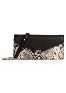 ALLSAINTS Sliver Snake Embossed Leather Wallet on a Chain