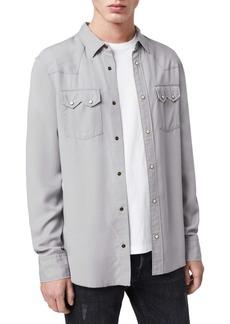 ALLSAINTS Stockade Regular Fit Snap-Up Shirt