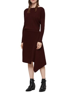 ALLSAINTS Suke Asymmetric Rib-Knit Dress