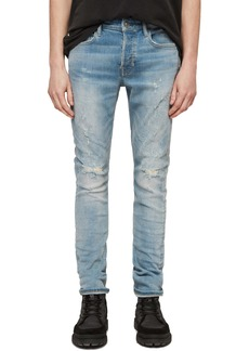 ALLSAINTS Cigarette Ripped Skinny Fit Jeans (Light Indigo Blue)