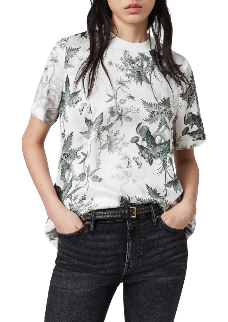 ALLSAINTS Trace Evolution Floral Print Back Button T-Shirt