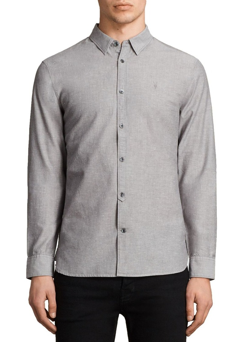 Allsaints allsaints tulare slim fit button down shirt for Slim fit tall shirts