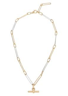ALLSAINTS Two Tone Chain Link Bar Pendant Necklace