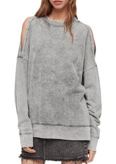 ALLSAINTS Unai Oversized Cold-Shoulder Sweatshirt