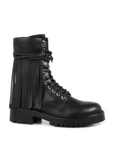 ALLSAINTS Women's Piper Leather Fringe Combat Booties