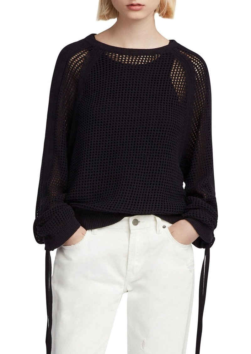 ALLSAINTS Zano Open-Knit Drawstring Sweater