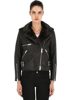 AllSaints Balfern Leather Biker Jacket W/ Faux Fur