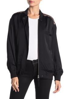 AllSaints Cleo Lyos Leopard Print Satin Mixed Bomber Jacket