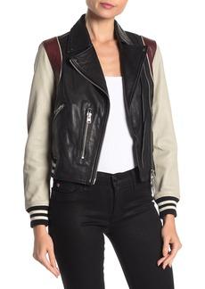 AllSaints Colorblock Lambskin Leather Zip Jacket