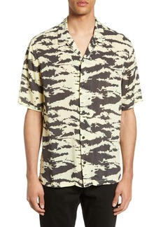 AllSaints Valais Slim Fit Print Camp Shirt
