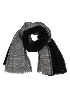 Women's Allsaints Plaid & Solid Wool Blend Fringe Scarf