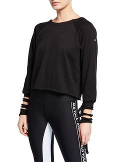 Alo Yoga Tribe Long-Sleeve Top with Slashed Cuffs & Ties
