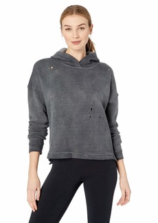 Alo Yoga Women's Cozy Cropped Hoodie - Graphic Anthracite Pot wash/dist M