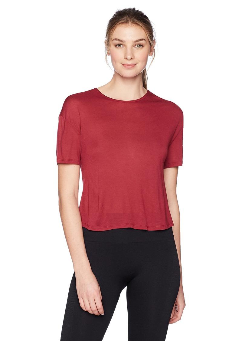 Alo Yoga Women's Entwine Short Sleeve Top red Velvet L