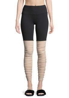 Alo Yoga Goddess Shirred High-Rise Performance Leggings
